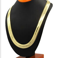 """Herringbone Chain 14k Yellow Gold Plated Hip Hop Necklace 10mm 24"""" Flat Snake"""
