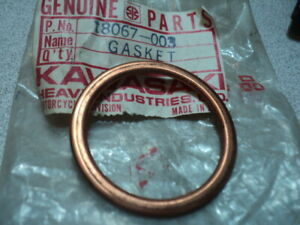 1987-91 KAWASAKI KE 100 KE 100 EXHAUST PIPE GASKET NOS OEM 18067-003
