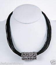 Bat-Ami Black leather necklace cord w/Sterling Silver Bead Pendant NE2163