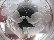1-OZ.PURE SILVER 1988 MICKEY AND MINNI 1ST EDITION YOURS FOREVER VALENTINE +GOLD