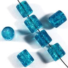 Lot de 30 perles craquelées Tubes en verre 7 x 8 mm Bleu