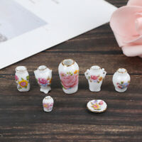7x 1:12 Dollhouse Miniature Porcelain Flower Vase Dolls House Accessories YK