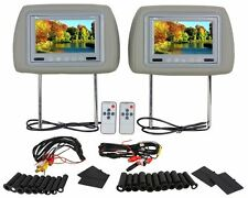 """Pair Of TView T721PL Universal 7"""" Gray Car Video Headrest TFT LCD Monitors"""