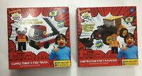 Set of 2: Construction Ryan's Bulldozer & Combo Panda's Fire Truck Building Sets