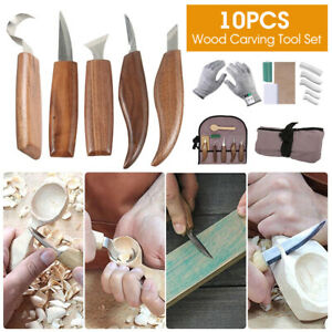 10Pcs Wood Carving Hand Chisel Set Kit Woodworking Tool Perfect For Beginner DIY