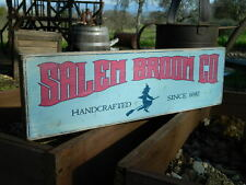 """Distressed Primitive Country Wood Sign - Halloween Salem Broom Co.  5.5"""" x 19"""""""
