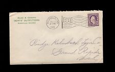 Bliss & Cowing Gents Outfitters Rushville Indiana 1918 Flag Cancel Cover 1q