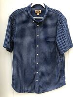 Foundry Men's XLT Short Sleeve Button Down Blue White Plaid Check Shirt Pocket