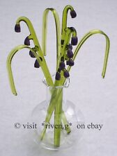 LAVENDER GLASS ORNAMENT SCULPTURE@VASE@BEAUTIFUL BUNCH OF Flowers@HOUSE WARMING