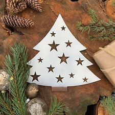 Rustic White CHRISTMAS TREE Plaque Sign Metal Shop Home decoration Nordic