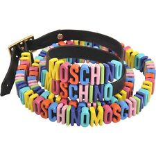 Moschino Couture Jeremy Scott Leather Logo Lettering Multicolor Bracelet