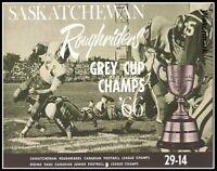 CFL 1966 Saskatchewan Roughriders Grey Cup & Regina Rams Champs 8 X 10 Photo