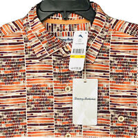 Tommy Bahama Silk Camp Shirt Men's Medium Rio Geo T320877 NEW $135 Orange Spark