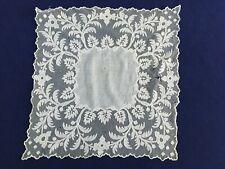 Ancien mouchoir mariage dentelle Cornely 43 X 41 cm