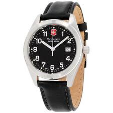 Victorinox Garrison Black Dial Leather Strap Men's Watch 241006CB