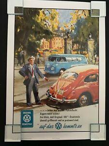 Retro 1960s Volkswagen Bulli Samba Bus + VW Beetle Bug Poster Print: Garage Home