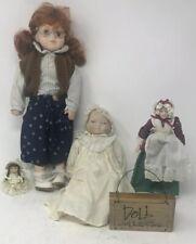 Lot of 4 Vintage Porcelain Dolls Glasses Infant and more!