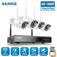 SANNCE H.264+ Wireless 8CH NVR 1080P Video WIFI CCTV IR Security Camera System