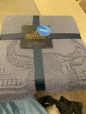 Pendleton Bison Throw Knit Blanket Tradewinds Blue  Cotton Blend