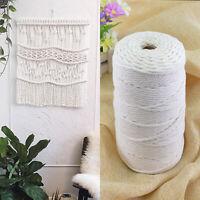 UK 200m 100% Natural Beige Cotton Twisted Cord Craft Macrame Artisan String 3mm