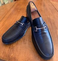 MEN'S BRUNO MAGLI HORSE BIT LOAFERS HAND MADE IN BLACK LEATHER SIZE 12 M