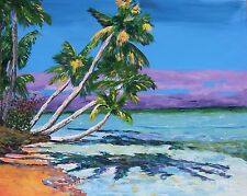 TROPICAL PALM TREES BEACH Original Art PAINTING Artist DAN BYL Huge 4ft x 5ft