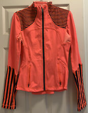 Lululemon Jacket Neon Orange Black striped Forme Womens Size 6 Zip Pockets