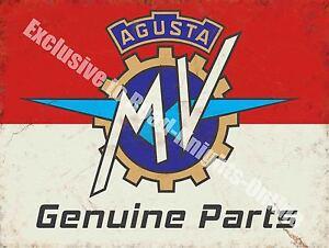 Vintage Garage Mv Agusta, 116, Motos Pièces Italien, Grand Enseigne en Métal