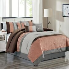 7 Piece Jessie Embossed and Pleated Comforter Set Bed-In-A-Bag (Queen, Rose)