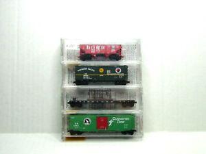 MICRO-TRAINS LINE N SCALE FALLEN FLAGS 4 PK SP&S,GN,NP,CBQ    21212
