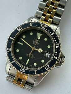 Vintage TAG Heuer 1000 Professional 200m stainless steel Divers mens date watch