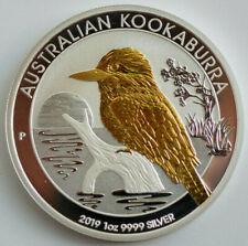2019 1 Dollar Australian Kookaburra 1 oz .9999 Gold Gilded Silver Coin