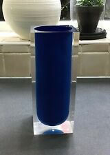 Large Jonathan Adler - Lucite Acrylic Vase, blue and clear.