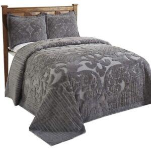 Better Trends Ashton Collection Medallion Design Full/Twin Bedspread Gray