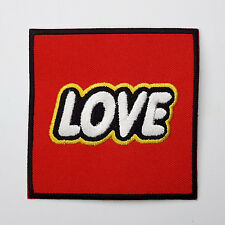 """LOVE LEGO"" TOYS - Building Block Style Logo Embroidered Iron-On Patch!"