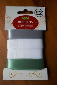 Multipack 3 fabric ribbons, wrapping or craft, 3m long, silver, white and green