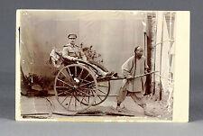 1901   RARE Boxer Rebellion era cabinet card   CHINA, german SOLDIER in RICKSHAW