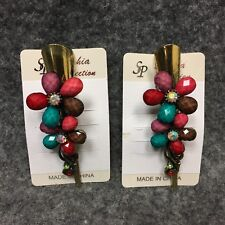 (2) Sophia Collection Hair Clip Barrettes Colorful Rainbow Beads & Gems FLORAL