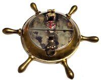 Antique Brass Cigarette Ashtray Vintage Anchor Inalid Nautical Wheel Cigar Case