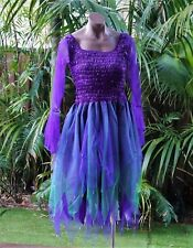 Women's Fairy Dress Costume with Sleeves & Wings - PURPLE & GREEN