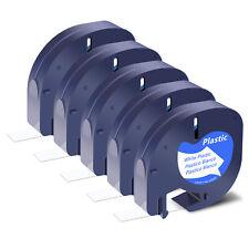 5pk For Dymo Plus Lt100th Refills Tape 91331 Black On White Plastic Label 12