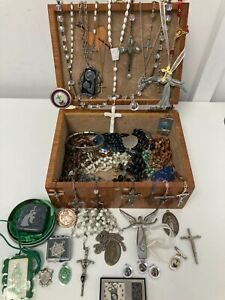 Religious Christianity Jewellery Cross Crucifix Rosaries Bundle Inc Box P470 E44