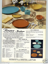 1957 PAPER AD Prolon Melmac Dinnerware Plates Florence New Solid Colors