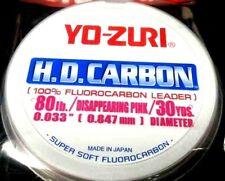 Yo-Zuri HD Carbon Fluorocarbon Leader line 80 lb 30 yds  disappearing pink spool