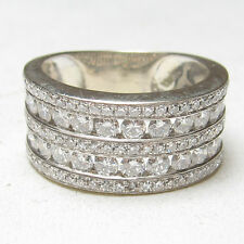 KC Estate 14K White Gold Single And Brilliant Cut Diamond Band Ring 1.50 Cts