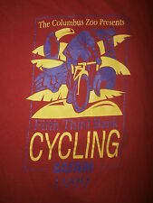 vtg 90s COLUMBUS ZOO CYCLING SAFARI T SHIRT Ohio Riding Bike Red Youth Large