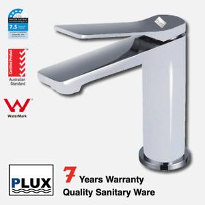 PLUX Luxury Bathroom Rounded White & Chrome Basin Mixer-Tap Mixer-Faucet