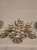 Russian Fine China 25 pc Dematasse Tea Cup Set Cobalt Blue Gold Decor