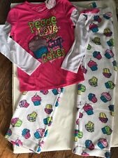 NWT JUSTICE PAJAMAS SIZE 16/18 PEACE LOVE CUPCAKES PANTS TOP 2PC