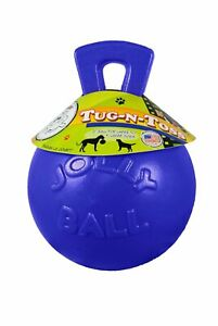 Jolly Pets Tug-N-Toss Ball with Handle Blue 8 inch | Rubber Chew Toy for Dogs